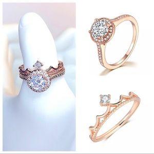 SET2 Rose gold tiara wedding/bands solit set